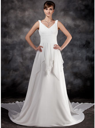 Newest Watteau Train A-Line/Princess Wedding Dresses Sweetheart Chiffon Sleeveless