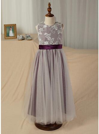 A-Line/Princess Ankle-length Flower Girl Dress - Satin/Tulle Sleeveless Scoop Neck With Sash (Undetachable sash)