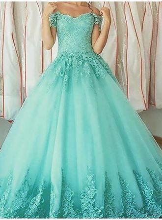 Ball-Gown Off-the-Shoulder Tulle Sleeveless Floor-Length Appliques Lace Evening Dresses