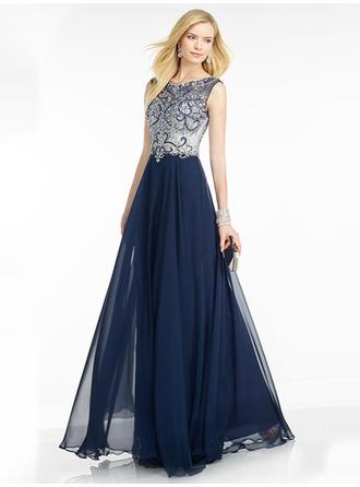 A-Line/Princess Scoop Neck Floor-Length Evening Dresses With Beading