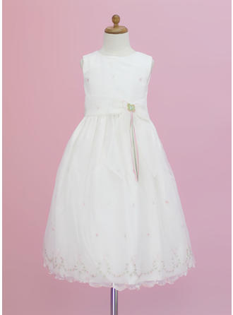 A-Line/Princess Scoop Neck Ankle-length With Flower(s)/Bow(s) Organza Flower Girl Dress