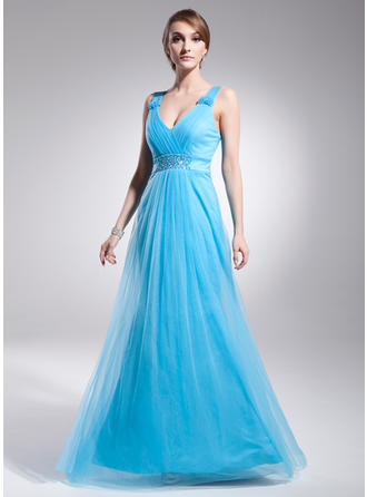 Tulle Sleeveless A-Line/Princess Prom Dresses V-neck Ruffle Beading Floor-Length