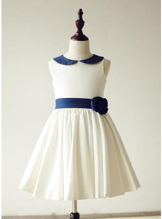 A-Line/Princess Peter Pan Collar Knee-length With Sash/Flower(s) Cotton Flower Girl Dresses
