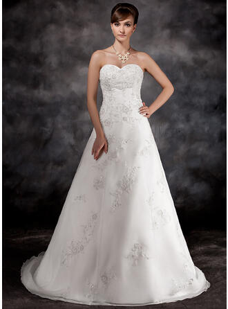 2019 New Court Train A-Line/Princess Wedding Dresses Sweetheart Organza Sleeveless