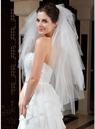 Fingertip Bridal Veils Tulle Six-tier Classic With Cut Edge Wedding Veils