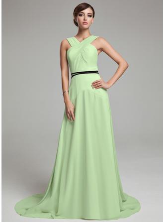 A-Line/Princess V-neck Sweep Train Chiffon Prom Dress With Ruffle Sash