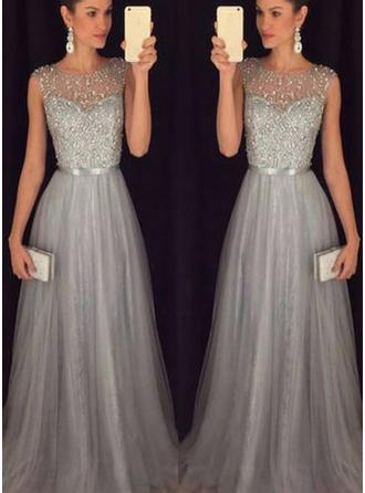 Scoop Neck A-Line/Princess Tulle Sleeveless Flattering Prom Dresses