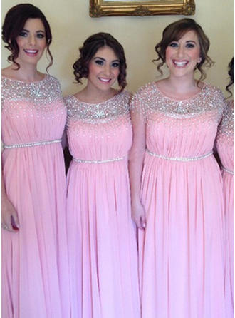 Chiffon Sleeveless A-Line/Princess Bridesmaid Dresses Scoop Neck Beading Sequins Floor-Length