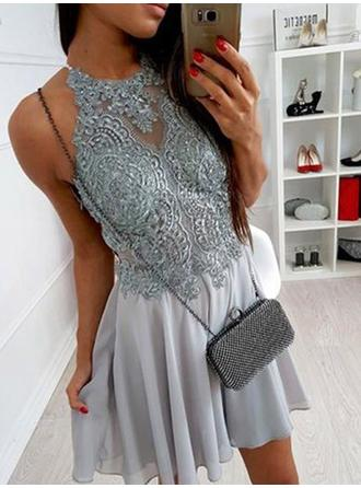 Magnificent Homecoming Dresses A-Line/Princess Short/Mini Halter Scoop Neck Sleeveless