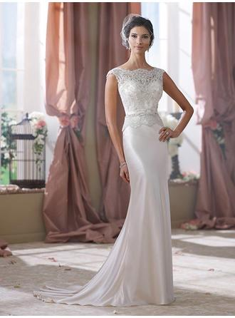 Sheath/Column Scoop Sweep Train Wedding Dresses With Lace