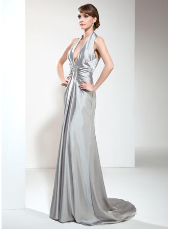 A-Line/Princess Halter Sweep Train Evening Dress With Ruffle Beading