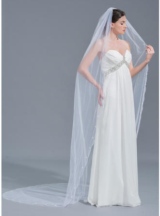 One-tier Lace Applique Edge Cathedral Bridal Veils With Beading