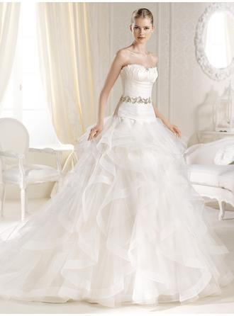 Ball-Gown Sweetheart Court Train Wedding Dresses With Ruffle Beading Cascading Ruffles