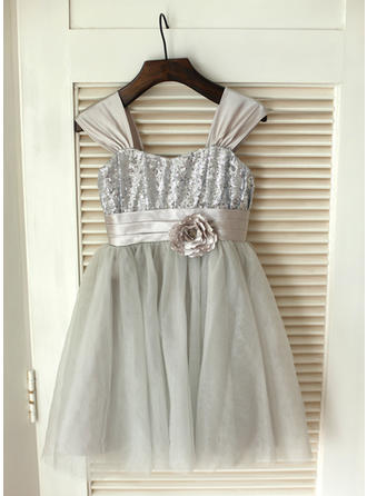 Ball Gown Knee-length Flower Girl Dress - Satin/Tulle/Sequined Sleeveless Straps With Flower(s)/Bow(s)