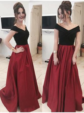 Gorgeous Satin Evening Dresses A-Line/Princess Floor-Length Off-the-Shoulder Sleeveless