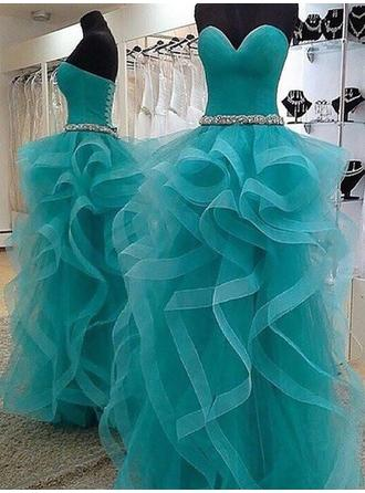 Princess Organza Evening Dresses Ball-Gown Floor-Length Sweetheart Sleeveless (017217116)