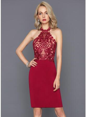 Sheath/Column Halter Knee-Length Jersey Cocktail Dress