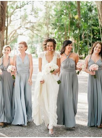 A-Line/Princess V-neck Floor-Length Bridesmaid Dresses With Ruffle