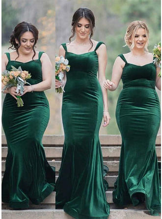 Bridesmaid Dresses Square Neckline Velvet Sheath/Column Sleeveless Sweep Train