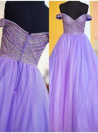 Newest Tulle Evening Dresses Ball-Gown Floor-Length Off-the-Shoulder Sleeveless