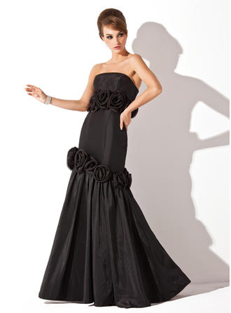 Trumpet/Mermaid Strapless Floor-Length Evening Dresses With Flower(s)
