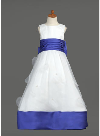 Floor-length Scoop Neck Organza/Satin Flower Girl Dresses With Sash/Bow(s)