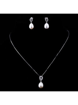 Jewelry Sets Pearl/Sterling Silver Lobster Clasp Pierced Ladies' Wedding & Party Jewelry