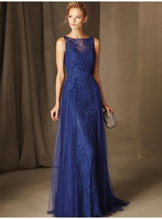 Sheath/Column Scoop Neck Sweep Train Evening Dresses With Lace