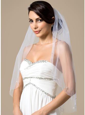 Ellenbogen Braut Schleier Tüll Einschichtig Klassische Art mit Perlenbesetzter Saum Brautschleier