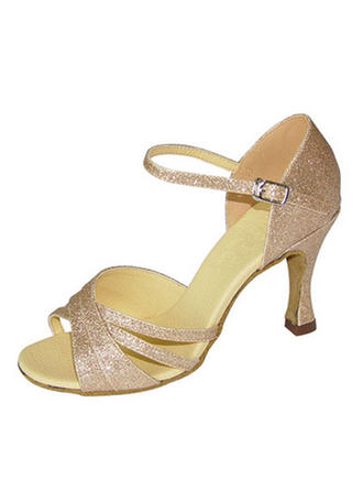 Women's Latin Heels Sandals Leatherette With Ankle Strap Hollow-out Dance Shoes