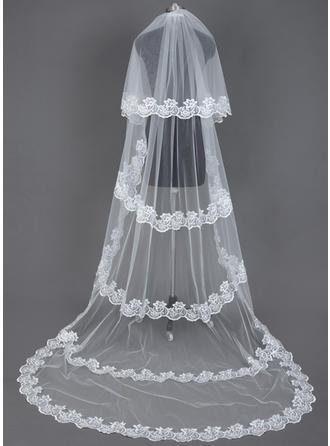 Velos de novia capilla Tul Dos capas Velo cascada con Con Aplicación de encaje Velos de novia