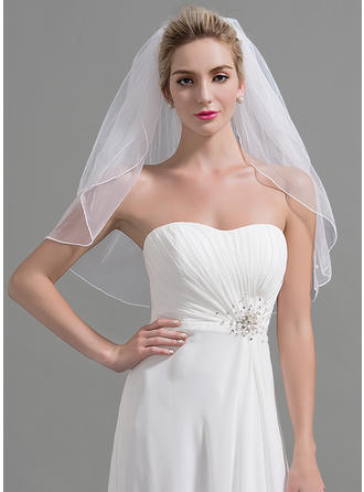Two-tier Cut Edge Elbow Bridal Veils With Faux Pearl (006095200)