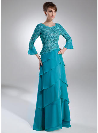 Chiffon Lace 3/4 Sleeves Mother of the Bride Dresses Scoop Neck A-Line/Princess Cascading Ruffles Sweep Train