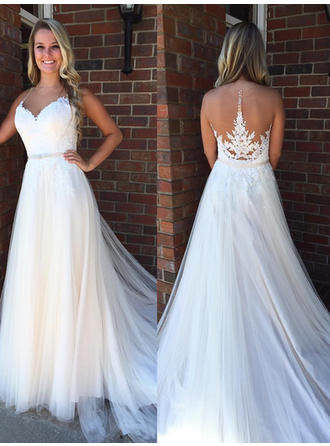 Tulle Court Train Beading With Spaghetti Straps Wedding Dresses
