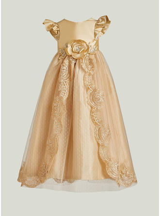 A-Line/Princess Scoop Neck Floor-length Satin Christening Gowns With Lace Flower(s)