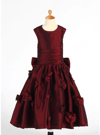 Scoop Neck A-Line/Princess Flower Girl Dresses Taffeta Ruffles/Flower(s)/Sequins/Bow(s) Sleeveless Tea-length