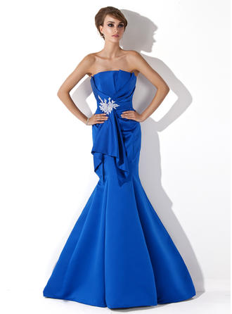Newest Scalloped Neck Trumpet/Mermaid Satin Evening Dresses
