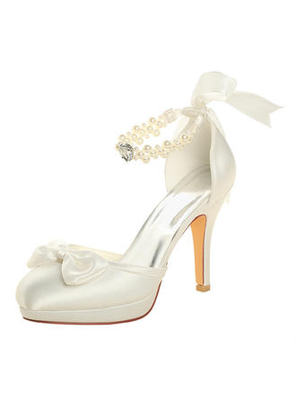 Women's Platform Pumps Stiletto Heel Silk Like Satin With Crystal Pearl Wedding Shoes
