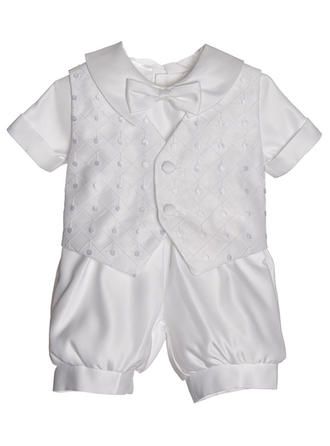 Satin Peter Pan Collar Bow(s) Baby Boy's Christening Outfits With Short Sleeves