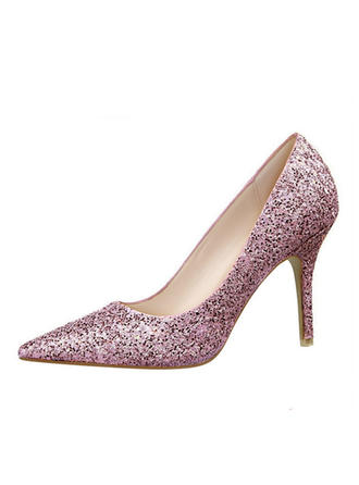 Women's Closed Toe Pumps Stiletto Heel Leatherette With Sparkling Glitter Wedding Shoes