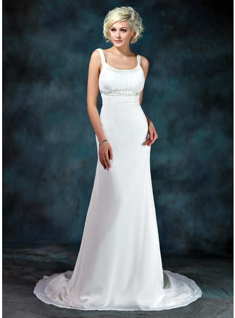 Glamorous Court Train Empire Wedding Dresses Scoop Chiffon Sleeveless (002001673)
