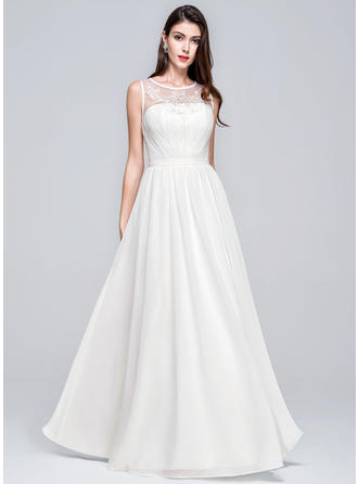 A-Line/Princess Scoop Neck Floor-Length Chiffon Wedding Dress With Ruffle Beading Appliques Lace Sequins