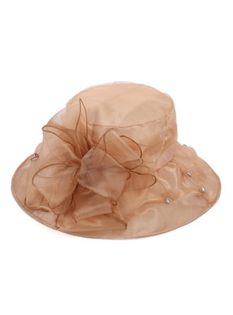 Organza With Silk Flower Bowler/Cloche Hat/Beach/Sun Hats Elegant Ladies' Hats