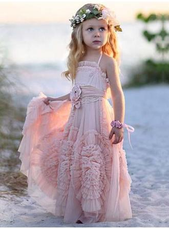 A-Line/Princess/Sheath/Column Square Neckline Floor-length With Flower(s) Chiffon Flower Girl Dress