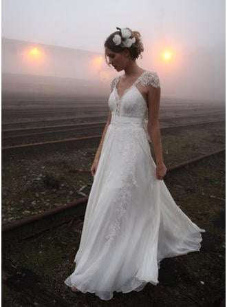 Beautiful Court Train A-Line/Princess Wedding Dresses V-neck Chiffon Sleeveless