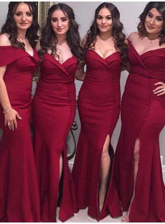 Trumpet/Mermaid Satin Bridesmaid Dresses Ruffle Split Front Off-the-Shoulder Short Sleeves Floor-Length