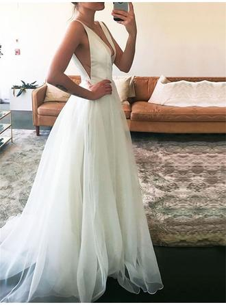 Sweetheart Tulle Wedding Dresses A-Line/Princess Floor-Length Sweep Train Deep V Neck Sleeveless