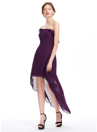 A-Line/Princess Strapless Asymmetrical Chiffon Homecoming Dresses With Cascading Ruffles