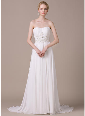 A-Line/Princess Sweetheart Sweep Train Chiffon Wedding Dress With Ruffle Lace Beading Sequins