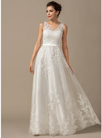 Tulle A-Line/Princess Floor-Length Sweetheart Wedding Dresses